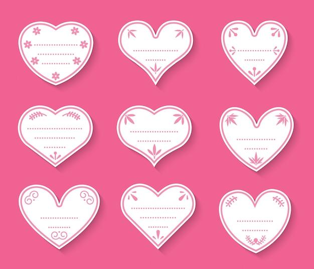 心紙カットヴィンテージラベルセット。価格タグのバレンタインデーのサイン、愛についてのステッカー。テキストボックスのドットの異なる形状の空のテンプレート