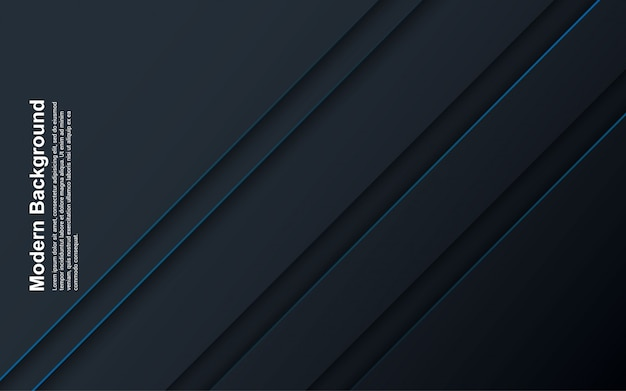 青い線と抽象的な背景の黒と青の色のイラスト