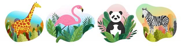 Коллекция диких животных в природе. иллюстрация на белом фоне.