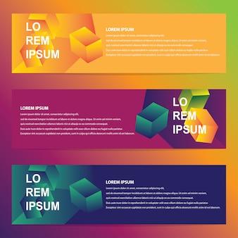 トレンディな幾何学的デザインのウェブバナー