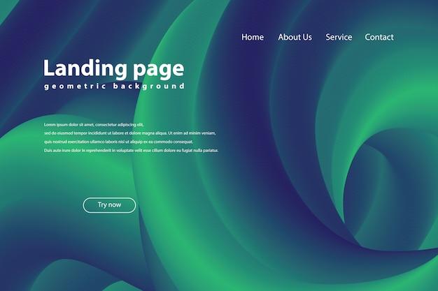 流行のある幾何学的背景を持つランディングページ