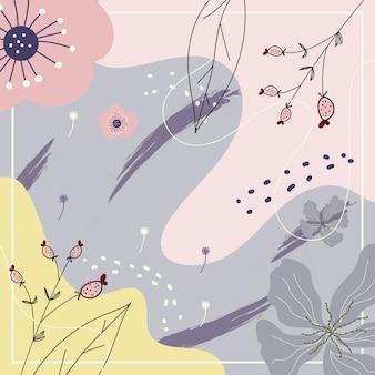 背景の花柄と抽象的な現代美術