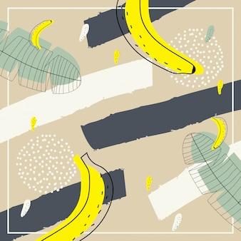 背景にバナナのパターンを持つ抽象現代美術