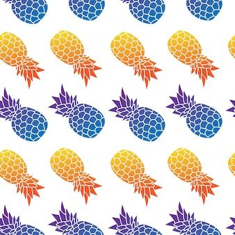 パイナップルのシームレスパターンと夏
