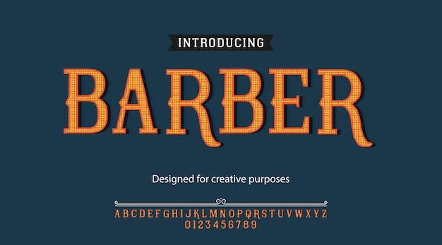 Парикмахерская гарнитура шрифта типография алфавит с буквами и цифрами