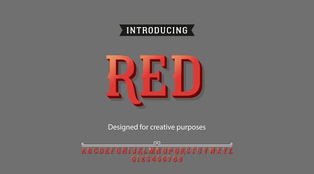 赤い書体。アルファベットと数字のフォントタイプ