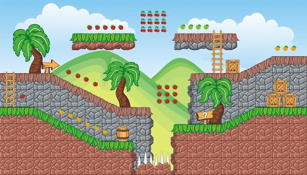 モバイルゲームを作成するためのタイルセットのプラットフォームと背景