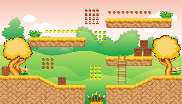 階層化された背景とゲームアセットのセット