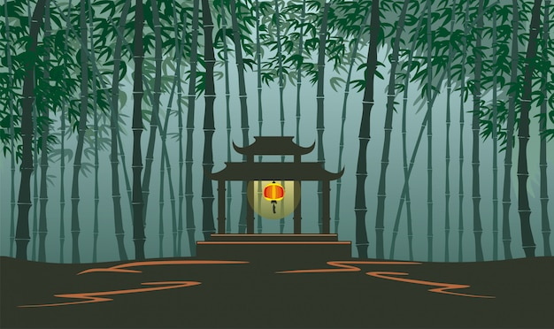 ゲームの背景のための無限の竹の風景