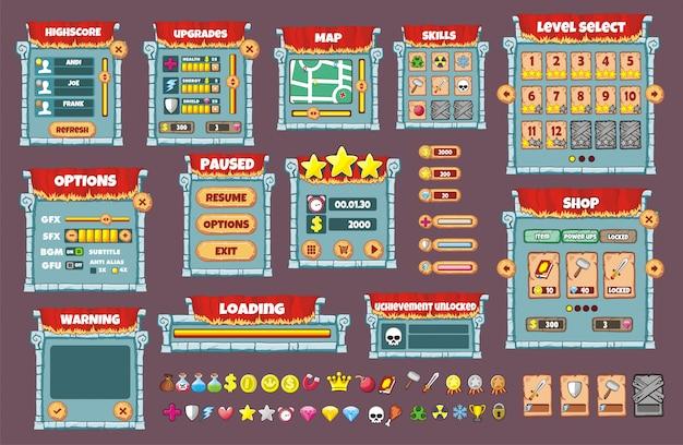 Дизайн игрового интерфейса. все экраны, которые вам нужны для вашей игры
