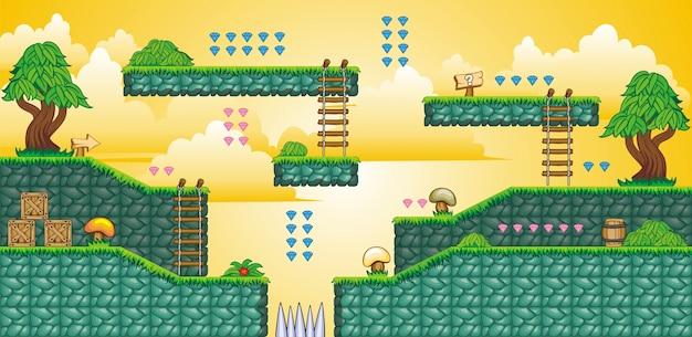 モバイルゲームを作成するために使用されるレイヤード背景のセット