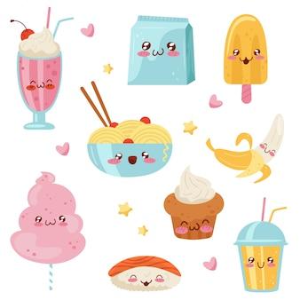 かわいいかわいい食べ物の漫画のキャラクターセット、デザート、お菓子、寿司、白い背景の上のファーストフードの図