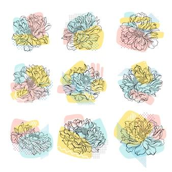 カラフルな抽象的な背景と手描きの花のセットです。線画。