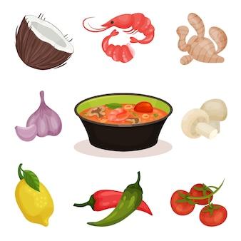 トムヤムクンのスパイシーなスープ、食材、白い背景の上のタイ料理のイラスト