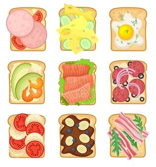 Набор бутербродов с различными ингредиентами. жареные ломтики хлеба с колбасой, жареными яйцами, салями, овощами и беконом