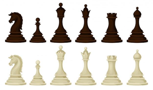木製のチェスの駒のフラットセット。戦略的なボードゲームのブラウンとベージュのフィギュア
