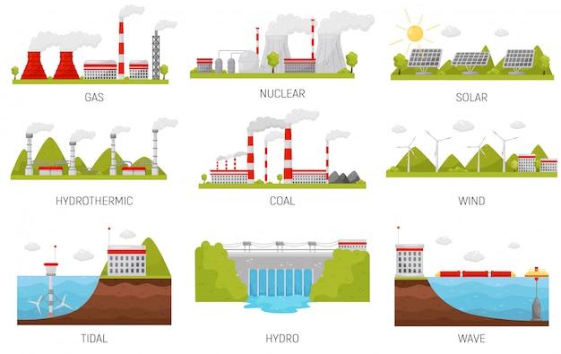 代替エネルギー源。水力、風力、原子力、太陽光および火力発電所。