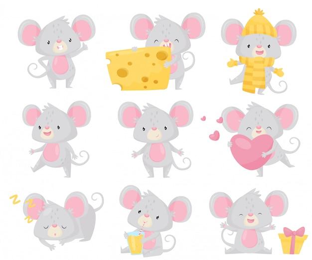 さまざまな状況での小さなマウスのセット。大きな耳と長い尾を持つ小さなげっ歯類。かわいい漫画のキャラクター