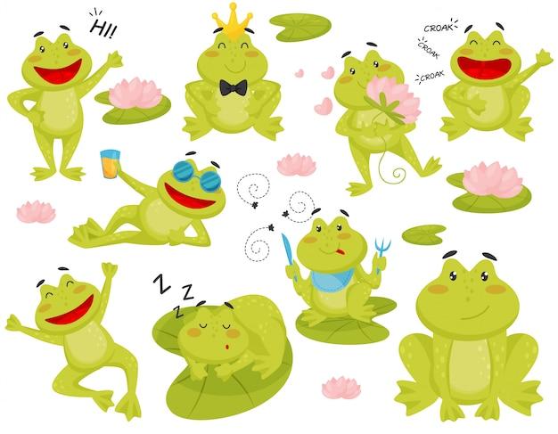 さまざまなアクションでカエルのセット。面白い緑のヒキガエルの漫画のキャラクター