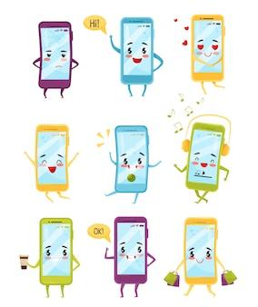 さまざまな感情を持つスマートフォンのセット。かわいい顔の漫画のキャラクター。現代のテクノロジー