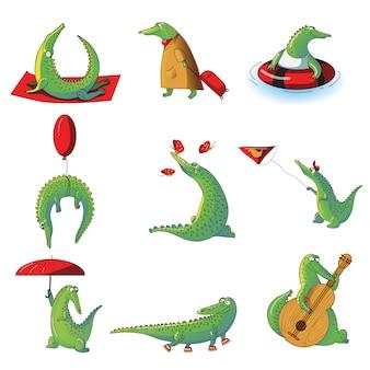 Мультфильм набор гуманизированных крокодилов в разных ситуациях. дикий аллигатор. смешное гуманизированное животное