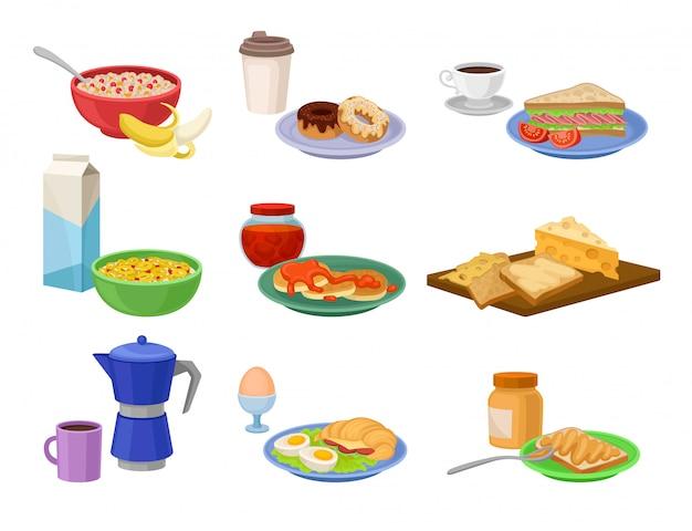 朝食アイコンのフラットセット。おいしい食べ物と飲み物。美味しい朝の食事。栄養テーマ