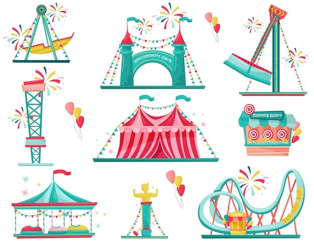 遊園地のアイコンのフラットセット。遊園地のアトラクション、エントランスゲート、サーカスのテント、シューティングギャラリー