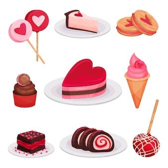 Плоский набор вкусных десертов на день святого валентина. леденцы на палочке, кусочек чизкейка, мороженое, бутербродное печенье