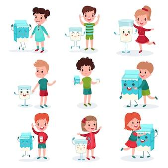 Симпатичные маленькие дети играют и веселятся со счастливыми гуманизированными коробками и кружками с молоком, здоровой пищей для детских мультипликационных иллюстраций
