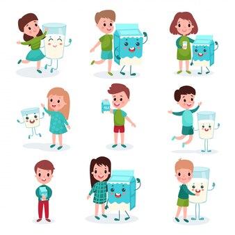 Счастливые мальчики и девочки играют с гуманизированными коробками и кружками с молоком, здоровая еда для детей, иллюстрации шаржа