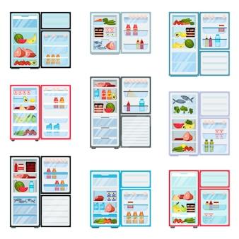 ドアが開いている冷蔵庫のフラットなど。製品で満たされた冷蔵庫。果物と野菜、肉と乳製品