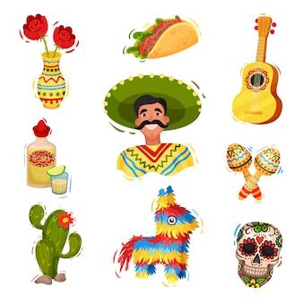 Традиционная праздничная мексиканская атрибутика. иллюстрации.