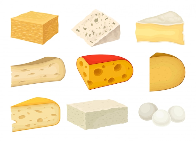 白い背景の上の品種チーズコレクション。