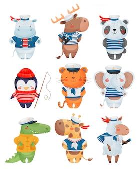 動物の船員の漫画のスタイルの文字。かわいい面白い小さな船乗りのイラストのセットです。