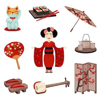 Собрание японских сувениров и аксессуаров. иллюстрация.