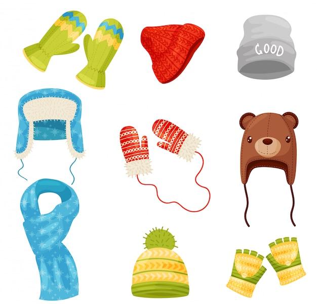 Зимний шарф, шапки и шапки, перчатки и варежки для мужчин и женщин. мультфильм иконки.