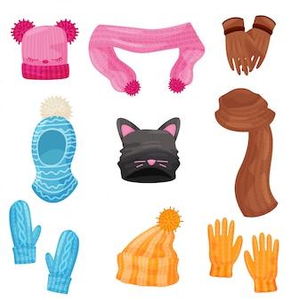 Зимний шарф, шапки, перчатки и варежки. мультфильм иконки.