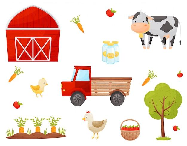 農家の要素のセットです。野菜、果物、家畜。イラスト。