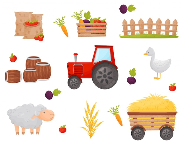 Набор фермерских элементов. овощи и сельскохозяйственные животные. иллюстрации.