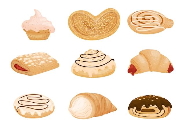 さまざまなパンやクッキーのコレクション。白い背景のイラスト。