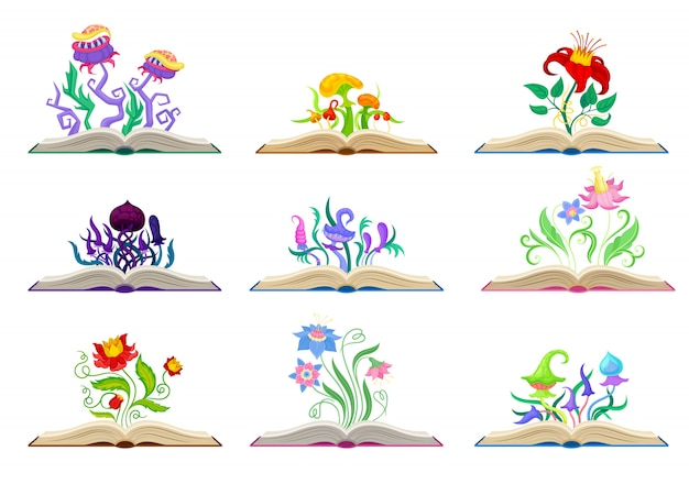 Коллекция различных сказочных грибов и цветов. иллюстрация на белом фоне.