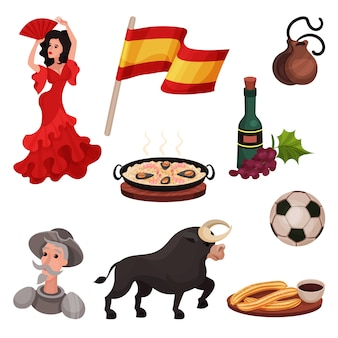 スペインの伝統的なシンボルとオブジェクト。白い背景のイラスト。