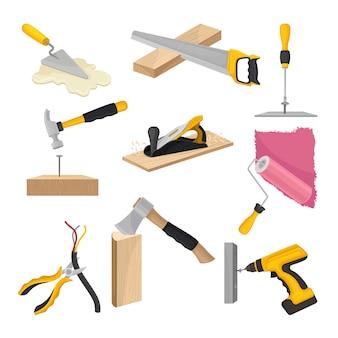 Набор строительных инструментов. иллюстрация на белом фоне.