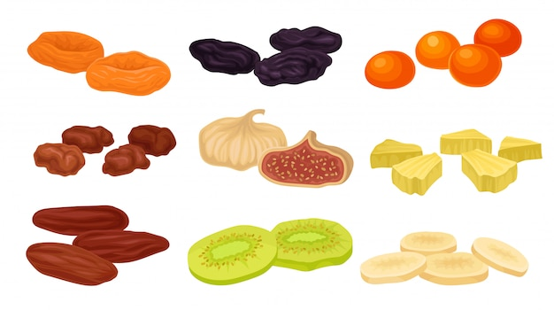 さまざまなドライフルーツの画像のセット。プルーン、イチジク、ドライアプリコット、アプリコット、キウイ。