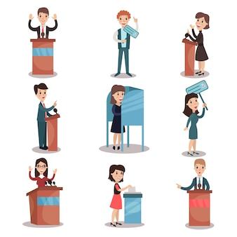 選挙と投票セット、政治家候補と投票プロセスイラスト