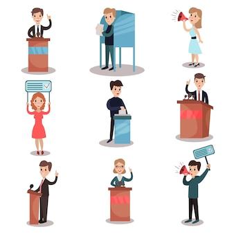 選挙と投票セット、政治家候補と投票に参加する人々イラスト