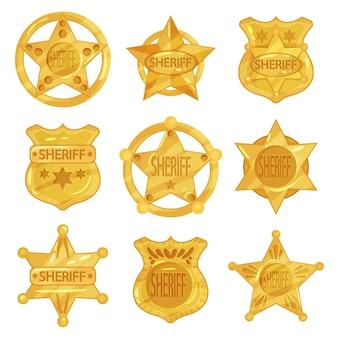 Коллекция различных шерифа золотых значков в современном плоском дизайне. полицейские эмблемы в форме звезды и круга.