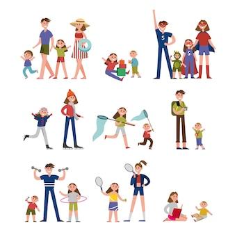家族の生活、活動、レジャーの幸せな瞬間。家族が親子イラストでカラフルなキャラクターを設定
