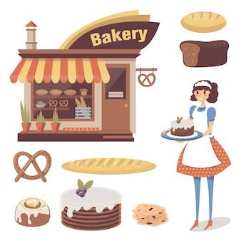 菓子店の建物、焼き菓子、女の子のパン屋またはウェイトレスのキャラクターが入ったベーカリー。漫画フラットフード。白で隔離されます。
