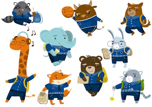 かわいい面白い動物の学生が学校のコンセプトに戻って、学校の制服のイラストで生徒の動物を設定